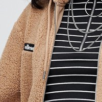 Ellesse Oversized Zip Front Hoodie With Embroidered Chest Logo In Teddy Fleece at asos.com