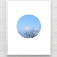 Printable Mountain Art Print, Geometric Art Print, Geometric Wall Art, Minimalist Print, Mt Fuji Travel Poster Print, Forest Photography