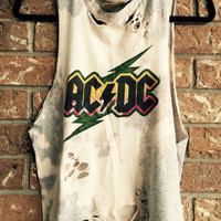 ACDC cut and distressed tank top, concert wear, bleached t shirt, rock n roll, heavy metal, size X large