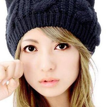DCCK1IN WENDYWU Women Cute Kint Beanie Solid Black Cat Ears Hat Caps Lady Cable Headwear for Woman