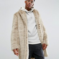 ASOS Faux Fur Overcoat in Stone at asos.com