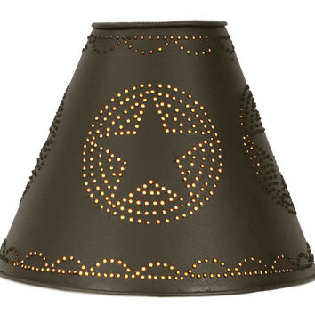 Star Punched Tin Shade - Rustic Brown