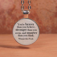 Winnie the Pooh Braver Stronger Smarter Text Poem Pendant Necklace Inspiration Jewelry