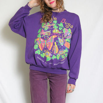 90s Vintage Crewneck - Purple Sweater - Jungle Bugs - Harlequin - 90s Crewneck Sweater Sweatshirt - 1990s Crew Neck Sweat Shirt - Oversized