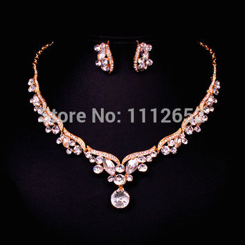 New Design Leaf Gold Color Crystal Bridal Jewelry Sets Wedding Prom Party Dress Accessories Charms Jewellery Necklace Earring