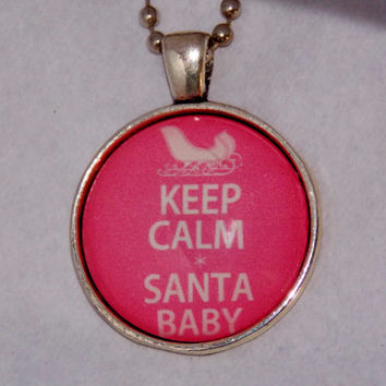 Santa Baby Necklace. Christmas Holiday Necklace. 18 Inch Ball Chain.