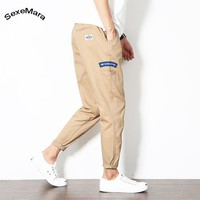 SexeMara Harem Pants Capri Men Casual Summer Cotton Men's Skinny Cut Trousers Youth Man Fashion Streetwear Pantalon Hombre Homme