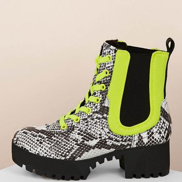 Lace Front Side Gore Snakeskin Combat Boots