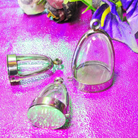 Set No.15,Mix Dome Pendants, Set of 3,Supply, Empty Display Case, Terrarium Necklace, Silver Tone, Art,Craft, Mementos, Clear Locket