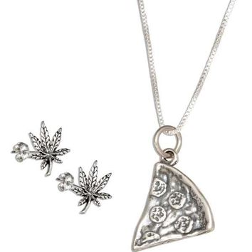 """Sterling Silver 18"""" Slice Of Pizza Pendant Necklace With Pot Leaf Earrings Set"""