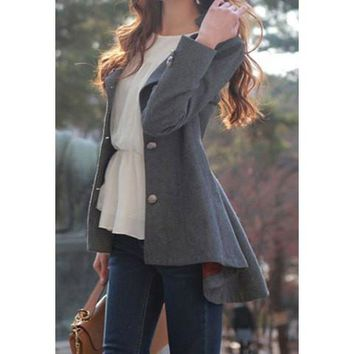 Deep Gray Dovetail Buttoned Long Sleeves Coat