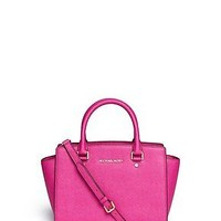 New Michael Kors Medium Selma Top Zip Satchel Handbag Fuschia Saffiano Leather