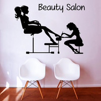 Pedicure Wall Decals Fashion Girl Nails Manicure Cosmetics Women Beauty Salon Decor Vinyl Decal Sticker Home Interior Design Art Mural KG837