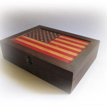 Rustic Cigar Box Personalized American Keepsake Box Gift For Men Wood USA Box  Antique Decoupage Box Unique Men's Gift Old Cigar Holder