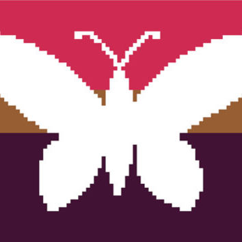 Pretty negative silhouette of a butterfly. Modern cross stitch chart. Contemporary cross stitch pattern.