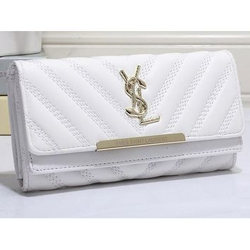 Perfect YSL Yves Saint Laurent Women Leather Buckle Wallet Purse