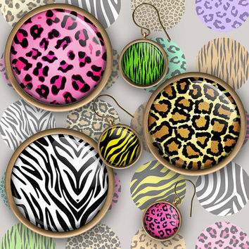 A2 Animal print pattern 1inch circle Button Bottle cap images. Digital Collage Sheet