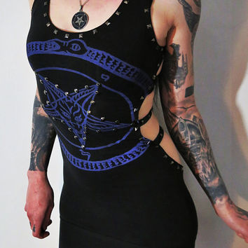 Hell Couture Purple Pentagram Studded Harness Mini