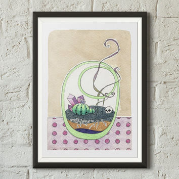 Cute terrarium fine art print illustration, Plants, Floral art, Bowl, Coffee stains, Succulents, Watercolor, Sharpie, Vivid colors