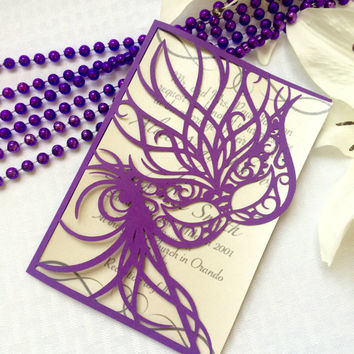 Mardi Gras mask cut party wedding invitation kit purple masked carnival princess ball cut paper bifold invite
