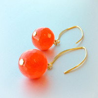 Tangerine Earrings Gold Jewelry Neon Orange Jewellery Fluorescent Bright Agate Gemstone Spring Fashion Vibrant