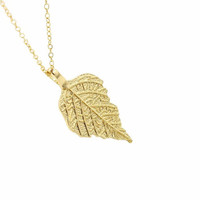 Gold Leaf Necklace, 24K Gold Plated Leaf, Valentine's Day Gift, Gold Necklace, Gold Leaf Jewelry Bridesmaids Gifts, Gifts for Her, Boho Chic