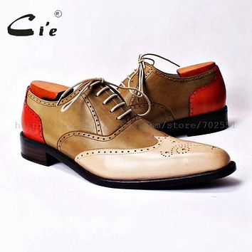 cie bespoke handmade custom full brogues hand-painted pure genuine calf leather outsole men's casual oxford mixed colors OX307