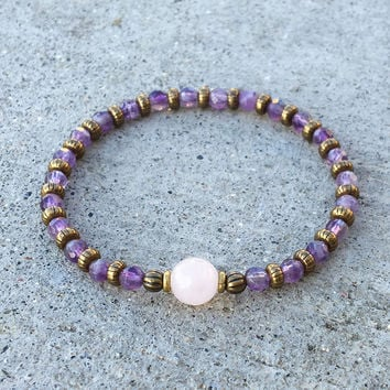 "Amethyst and Rose Quartz Fine Faceted ""Healing"" Bracelet"