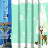 """Merry Christmas Bathroom Wish Collection Holiday Fabric Shower Curtain (70"""" x 72"""") with Matching Bath Rug (20"""" x 30"""") - Friendly Winter Forest"""
