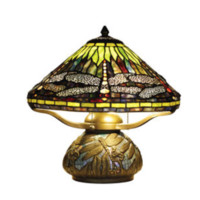 "Dragonfly 16"" H Antique Bronze Tiffany Table Lamp Stained Glass Mosaic"