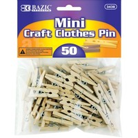 BAZIC Mini, Natural Clothespins, Wood, 50 Per Pack