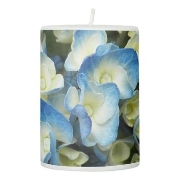 Blue Blossoms Floral Pillar Candle