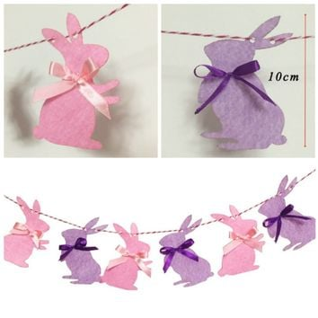 3M Cute Easter Bunny Garland Children Favors Pink Purple Rabbits Cloth Banner Happy Birthday Party Decorations