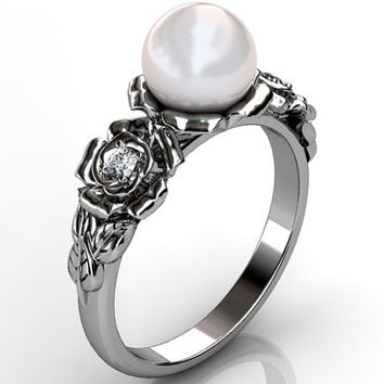 14k white gold South Sea pearl diamond unusual unique floral engagement ring, bridal ring, wedding ring ER-1090-1