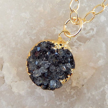 Black Petite Druzy Necklace 24K Gold Round Circle Dainty Small Tiny Quartz Natural Rock Crystal Pendant- Free Shipping OOAK Jewelry