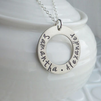 Eternity - - Personalized Hand Stamped Pendant - - Washer Style