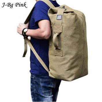 Men's Luggage Bag Army Bucket Backpack Casual Back Pack Multifunctional Military Canvas Backpacks Cheap Shoulder Bags