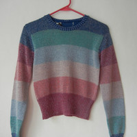 Vintage 90's Sparkle Sweater, Size xs, Raver, Kawaii, Pink, Teal, Blue, Silver, Glitter, Teen