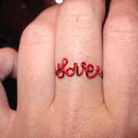 Wire Wrapped LOVE Spelled Small Red MADE to ORDER Ring