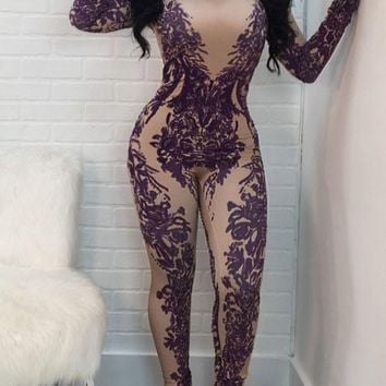 Purple Floral Pattern Zipper One Piece Band Collar High Waisted Party Long Jumpsuit