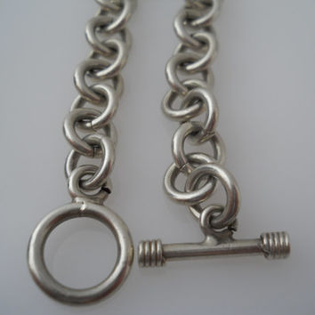 Sterling Silver 925 Heavy Rolo Link Bracelet Thick Cable Chain 8.25in 9-10mm Toggle Closure Unmarked