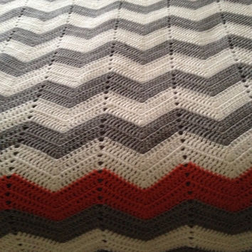 Summer Sale Adult Size gray and white chevron crochet blanket with coral stripe