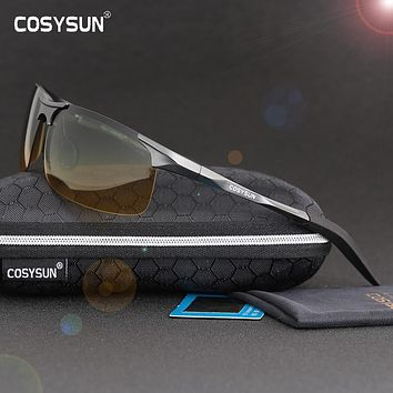 With Case Brand Luxury Aluminum Magnesium Alloy Polarized Sunglasses Men Sports Glasses HD Polarized Driving Gafas Oculos C8177C