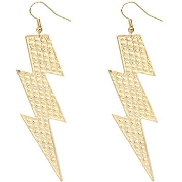 Gold Thunder Lightning Bolt Earrings