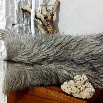 Genuine Goatskin Decorative Pillow With Filling | 100% Naturel Long Hair Goat Skin Throw Pillow | Grey Fur Decorative Throw Cushion