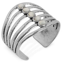 Lucky Brand Bracelet, Silver-Tone Mother-of-Pearl Cuff Bracelet - All Fashion Jewelry - Jewelry & Watches - Macy's