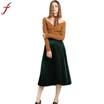 DCCKON3 2017 High Waist Tutu Party Ladies Spring Summer Midi Skirt Fashion Pleated Velvet Seamless Stretch Party Cocktail Skirts #LSN