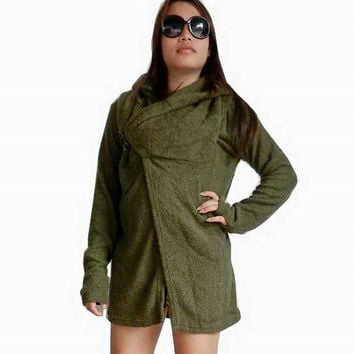 New Design Trendy Boucle Style Jacket,Hoodie Long Sleeve,Tricot in Green.