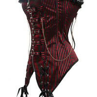 Red Lace Up Buckle Cotton Blend Corset