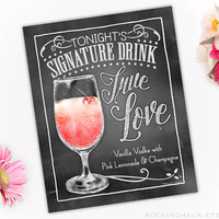 Wedding Decoration | Signature Drink Sign | Party Decoration for Rehearsal Dinner, Wedding | Keepsake Gift | True Love Cocktail